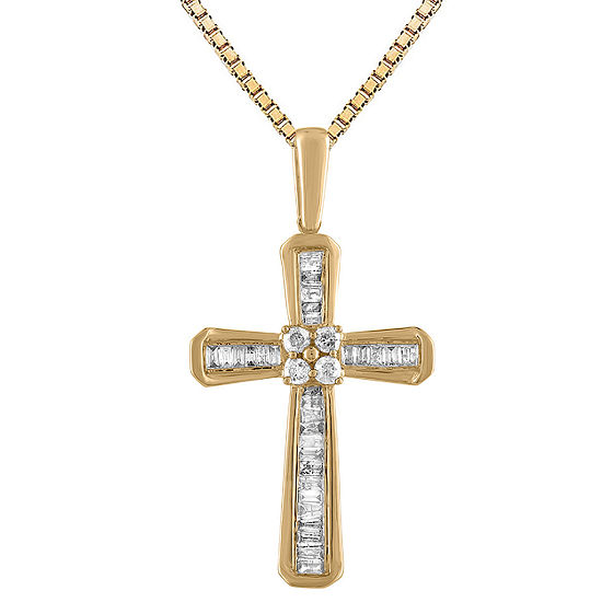 Womens 1/5 CT. T.W. Genuine White Diamond 10K Two Tone Gold Cross Pendant Necklace