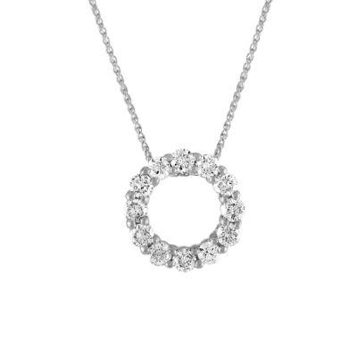 Womens 1 1/2 CT. T.W. Genuine White Diamond 14K White Gold Pendant Necklace