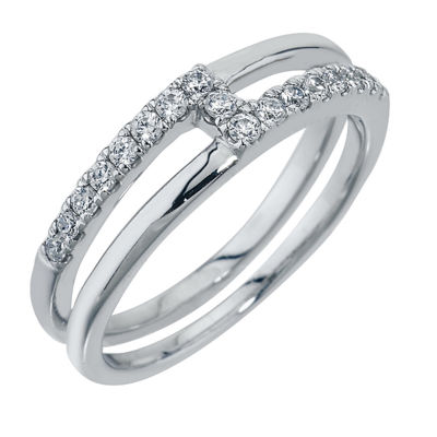 Womens 6MM 1/4 CT. T.W. Genuine White Diamond 10K White Gold Band