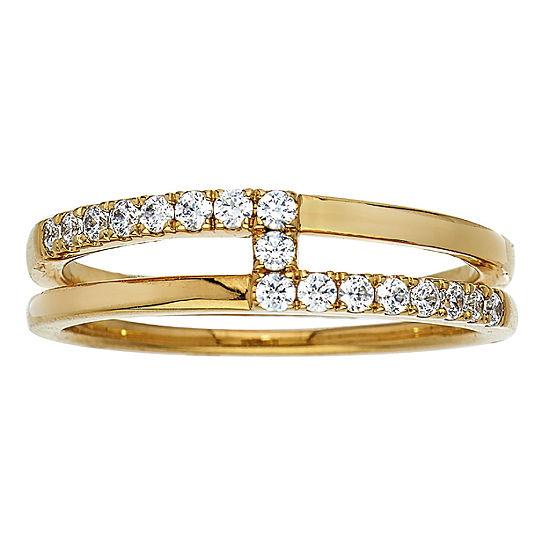Womens 6MM 1/4 CT. T.W. Genuine White Diamond 10K Gold Band