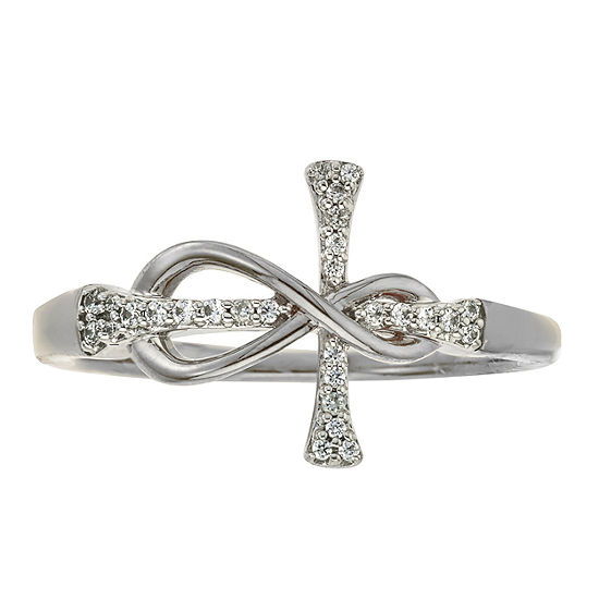 9M 1/10 CT. T.W. Genuine White Diamond 10K White Gold Cross Band