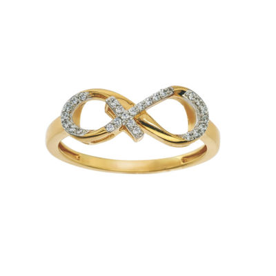 Womens 9M 1/10 CT. T.W. Genuine White Diamond 10K Two Tone Gold Infinity Cocktail Ring