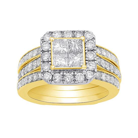 Womens 2 Ct Tw Genuine White Diamond 10k Gold Bridal Set