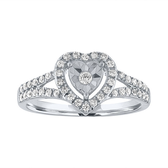 Promise My Love Womens 1/4 CT. T.W. Genuine White Diamond Sterling Silver Heart Promise Ring