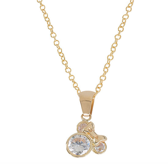 Disney® 14K Yellow Gold Cubic Zirconia Minnie Mouse Pendant Necklace