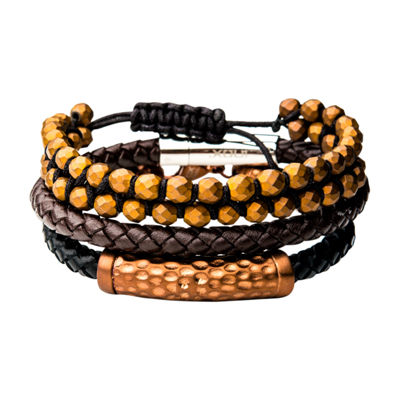 Inox Mens Jewelry 3-pc. Brown Hematite Stainless Steel Bracelet Set