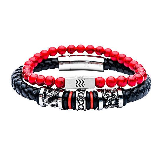 Inox Mens Jewelry 2-pc. Red Howlite Stainless Steel Bracelet Set