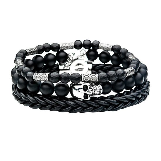 Inox Mens Jewelry 3-pc. Black Onyx Stainless Steel Bracelet Set