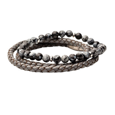 Inox Mens Jewelry 2-pc. Multi Color Hematite Stainless Steel Bracelet Set
