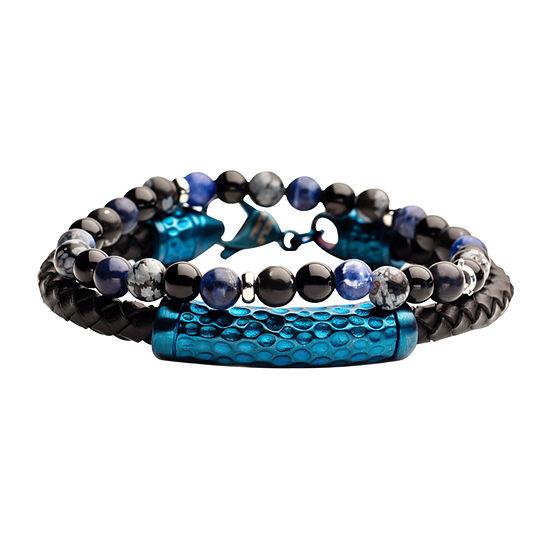 Inox Mens Jewelry 2-pc. Gray Agate Stainless Steel Bracelet Set