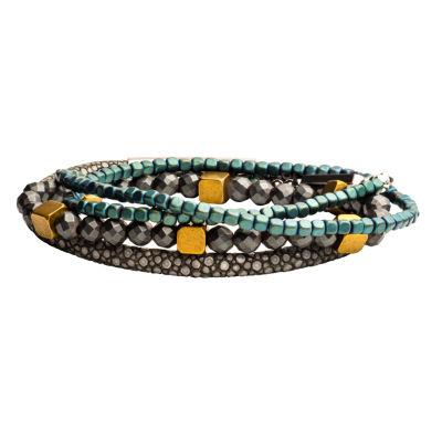 Inox Mens Jewelry 3-pc. Blue Hematite Stainless Steel Bracelet Set
