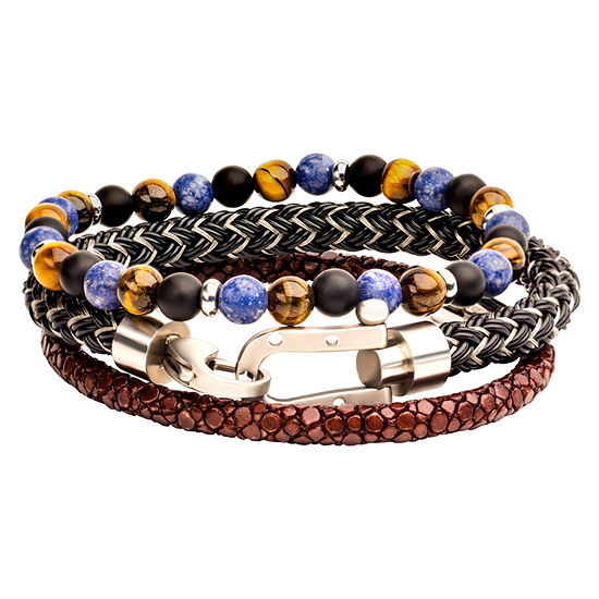 Inox Mens Jewelry 3-pc. Multi Color Agate Stainless Steel Bracelet Set