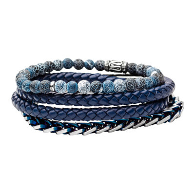 Inox Mens Jewelry 3-pc. Blue Agate Stainless Steel Bracelet Set