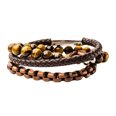 Inox Mens Jewelry 3-pc. Multi Color Tiger's Eye Stainless Steel Bracelet Set
