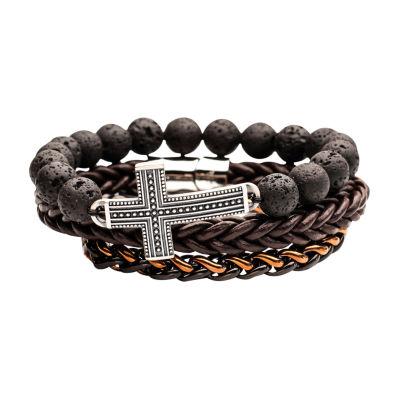 Inox Mens Jewelry 3-pc. Stainless Steel Bracelet Set