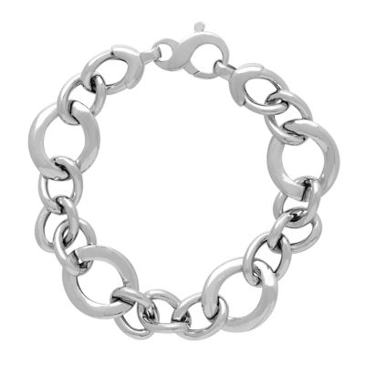 Made in Italy Sterling Silver 8 Inch Hollow Link Bracelet