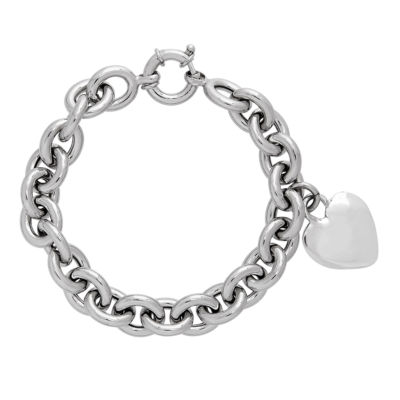 Made in Italy Sterling Silver Heart Charm Bracelet