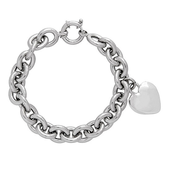 Jcpenney Charm Bracelet: Made In Italy Sterling Silver Heart Charm Bracelet