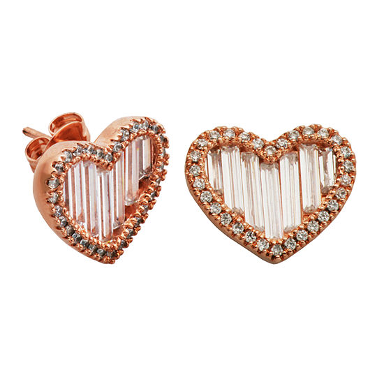 Diamonart White Cubic Zirconia 14k Rose Gold Over Silver 115mm Heart Stud Earrings