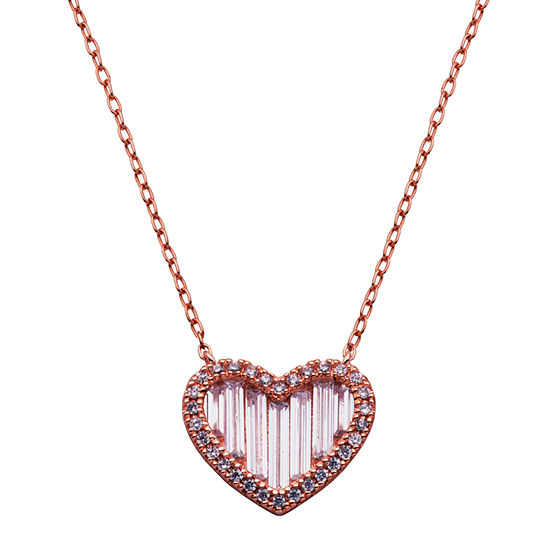 Diamonart Womens White Cubic Zirconia 14K Rose Gold Over Silver Heart Pendant Necklace