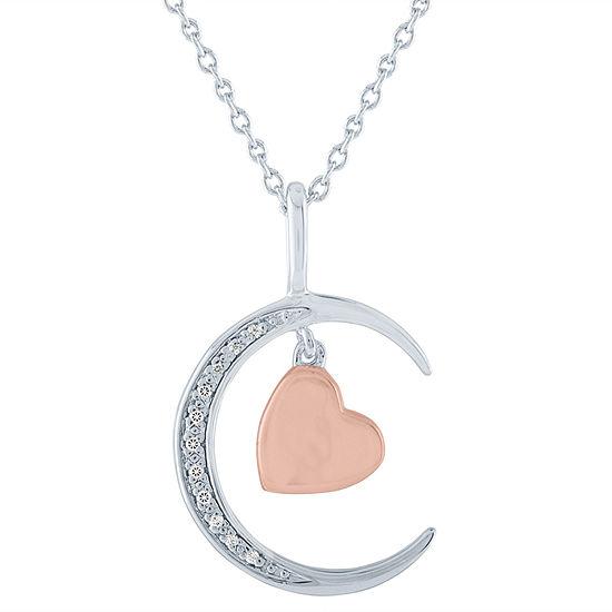 Womens Diamond Accent Genuine Diamond 14K Rose Gold Over Silver Pendant