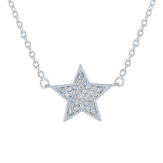 """Keep Calm"" Womens Diamond Accent Genuine Diamond Sterling Silver Star Pendant"