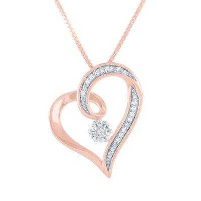 Diamond Blossom Womens 1/10 CT. T.W. Genuine Diamond 14K Rose Gold Over Silver Heart Pendant