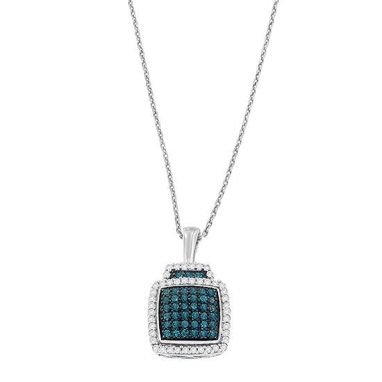Womens 1/2 CT. T.W. Genuine Multi Color Diamond Sterling Silver Pendant Necklace