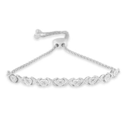 1/10 CT. T.W. White Diamond Sterling Silver Bolo Bracelet
