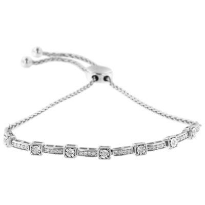 1/4 CT. T.W. White Diamond Sterling Silver Bolo Bracelet