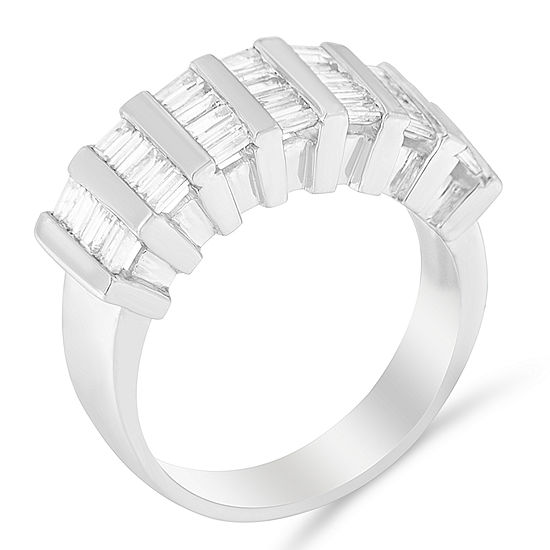 Womens 1 CT. T.W. Genuine White Diamond Sterling Silver Cocktail Ring