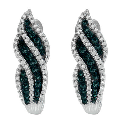 1/2 CT. T.W. Genuine White & Color Enhanced Blue Diamond Sterling Silver Earrings