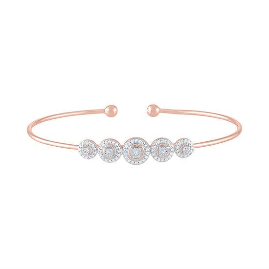 1/4 CT. T.W. Genuine Diamond 14K Rose Gold Over Silver Bangle Bracelet