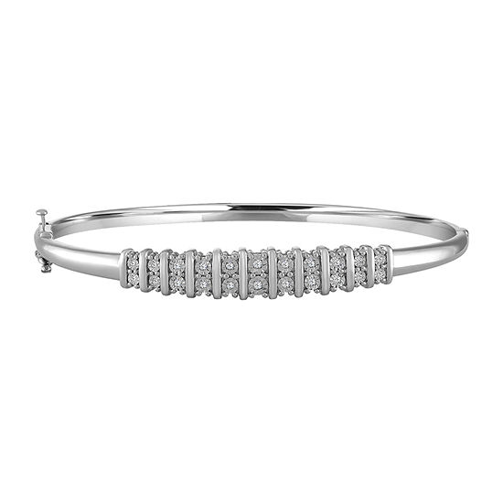 1/10 CT. T.W. Genuine White Diamond Sterling Silver Bangle Bracelet