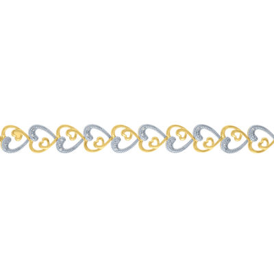 1/10 CT. T.W. Diamond 14K Gold over Silver Heart Tennis Bracelet
