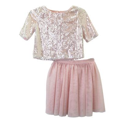 Lilt Short Sleeve Skirt Set - Big Kid Girls