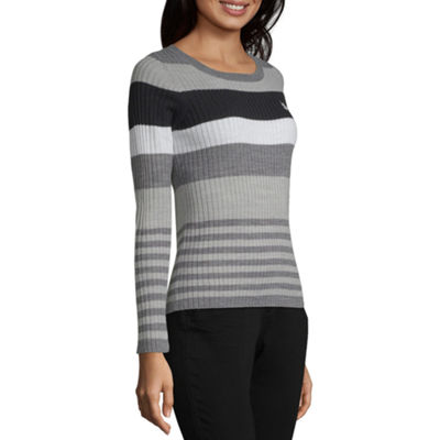 Us Polo Assn. Womens Crew Neck Long Sleeve Stripe Pullover Sweater-Juniors