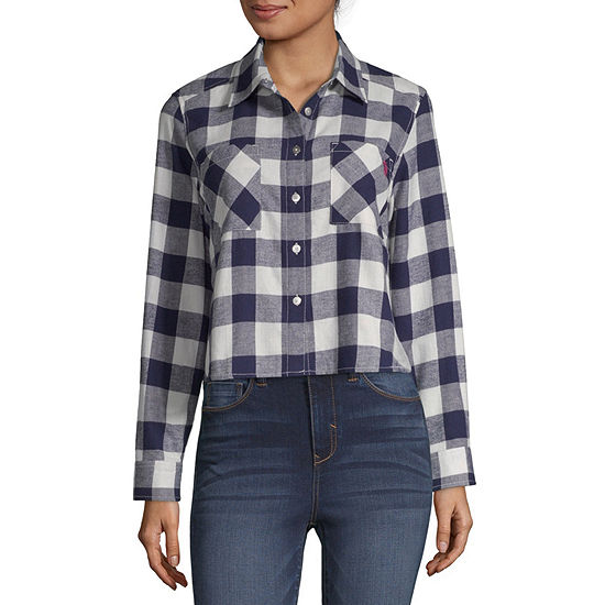 Us Polo Assn. Womens Long Sleeve Flannel Shirt-Juniors