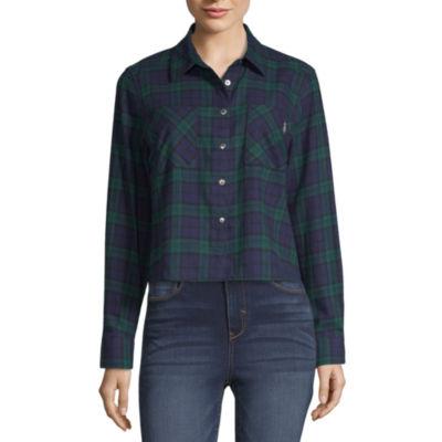 Us Polo Assn. Womens Long Sleeve Flannel Shirt-Juniors