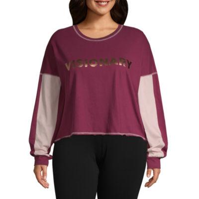 Flirtitude Long Sleeve Scoop Neck T-Shirt-Womens Juniors Plus