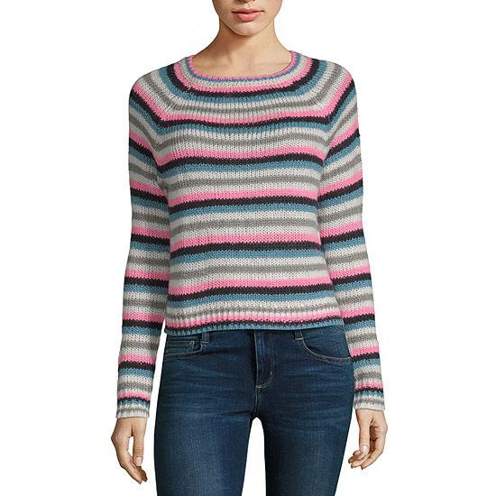 Arizona Long Sleeve Round Neck Stripe Pullover Sweater-Juniors