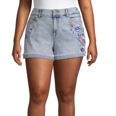 """Arizona 2 1/2"""" Denim Shorts-Juniors Plus"""