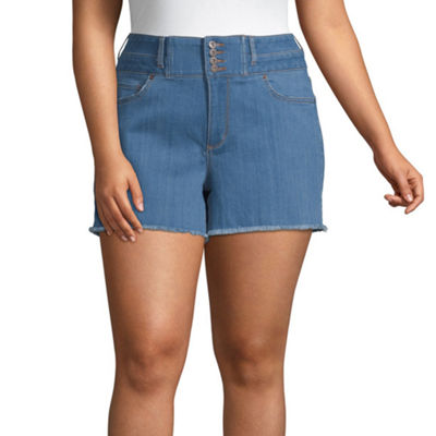 "Arizona Womens High Waisted 2 1/2"" Denim Short-Juniors Plus"
