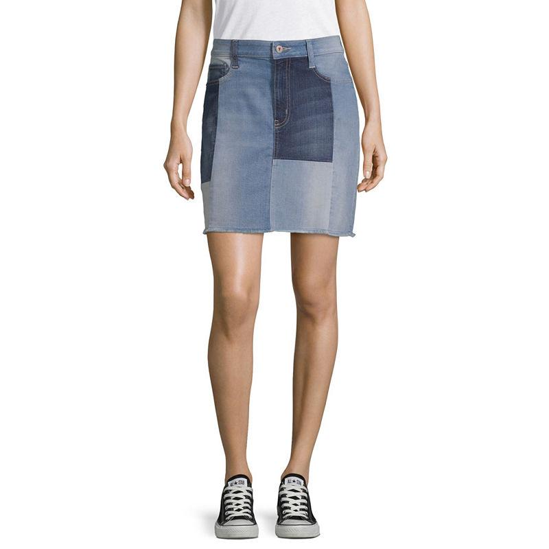 image of Arizona Womens Low Rise Short Denim Skirt-Juniors