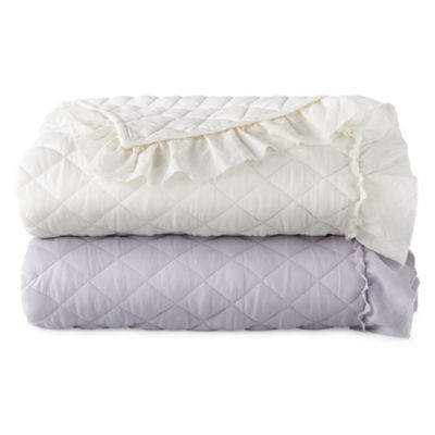 JCP HOME Quilted Ruffle Throw