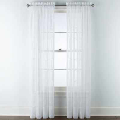Home Expressions Lattice Voile Embroidery Sheer Rod-Pocket Curtain Panel