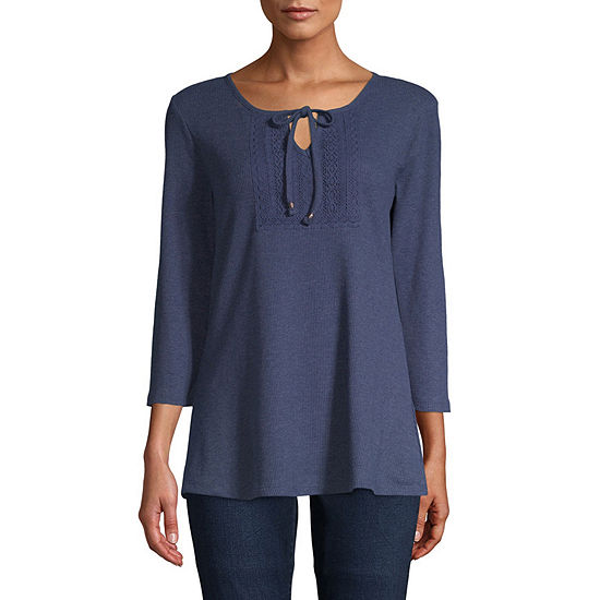 St. John's Bay Womens Split Crew Neck 3/4 Sleeve Lace Trim Peasant Top