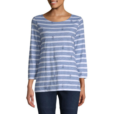 St. John's Bay-Womens Boat Neck 3/4 Sleeve T-Shirt