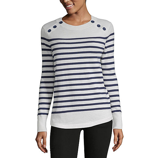 Liz Claiborne Simply Womens Crew Neck Long Sleeve Striped Pullover