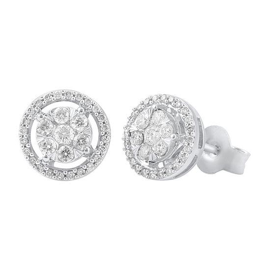 Certified 1/2 CT. T.W. Genuine Diamond 14K White Gold 9.5mm Stud Earrings